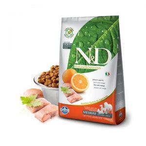 N&D Tahılsız Balıklı Portakallı Medium Yetişkin Köpek Maması 2,5 Kg