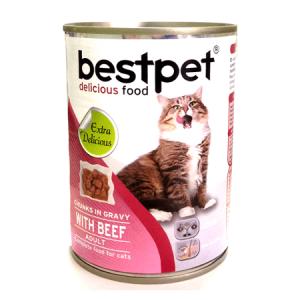 Bestpet Soslu Parça Biftekli Konserve Yetişkin Kedi Maması 415g